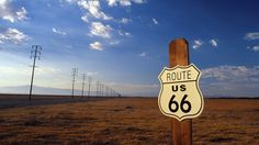 #Usa #Road #Route66 #PowerLines #Field #Clouds #UtilityPole #Wallpaper