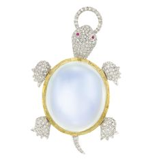 Two-Color Gold, Moonstone and Diamond Turtle Brooch