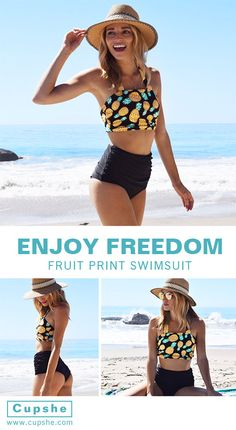 We love what we see in this pineapple printing bikini set! $21.99 with free shipping for a best summer ever! This halter bikini set features high waist&gathering style! Your best choice at Cupshe.com