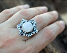 Moonstone silver ring lotus: Lotus flower ring - Moonstone ring - Yoga jewelry - Unique ring spiritual - Silver statement ring -Mandala ring
