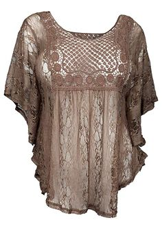 eVogues Plus Size Sheer Crochet Lace Poncho Top Chocolate Brown - 1X Lacer e31c57421