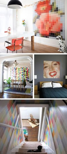 LOVE these ideas for #Repurposing Paint Chips! especially the narrow steep stairway transformed to cheerful! #FengShui