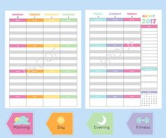 Get and stay organized in 2017 with this printable 2017 weekly planners & monthly calendars.   What You Need To Know  Size: 8.5 x 11 (Standard Paper Size) Digital File: PDF file available for download after purchase. Print as many copies as you want! Use: As a standalone piece or add to your arc notebook or any discbound planner system.  Weekly Planner: -2 Pages per Week -Includes August 2017- July 2018 -Each day includes section for morning, day, evening, and fitness; gray and white line...