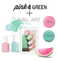 """#pink+Green#Colors#beautiful#waow#love"" by laura-vanessa-malaika on Polyvore featuring beauty, Essie and Jin Soon"