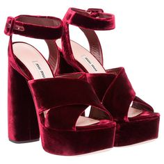 Miu Miu - Sandals - Burgundy - United States - 5XP723_3I12_F0007_F_125
