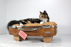 Foto: Een koffer als kattenmand. Echt vintage, deze kattenmand. Atomic Attic. Geplaatst door anja op Welke.nl
