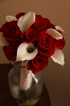Red Rose and White Calla Lily Bridal Bouquet