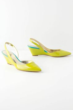 """Bimini Wedges - Anthropologie.com  A pointy toe, patent leather, pop-of-color, wedge-meets-slingback pair. By Belle by Sigerson Morrison.        Fits true to size      Leather upper, insole, sole      2.5"""" leather wrapped wedge      Imported"""