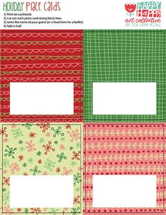 24 days of FREEBIES :: Day 9 :: Place Cards — happy happy art collective