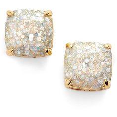 kate spade new york glitter stud earrings ($38) ❤ liked on Polyvore featuring jewelry, earrings, accessories, opal glitter, 14 karat gold earrings, glitter stud earrings, kate spade jewelry, square earrings and glitter jewelry