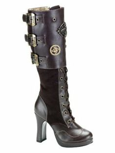 Amazon.com: Steampunk Brown Buckle Platform Boot - 8: Shoes