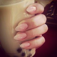 #nails #ombre #pink #nude #bobatea