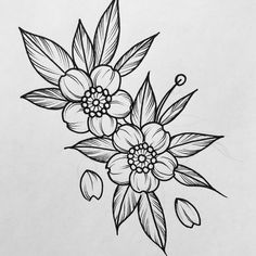 I simply love the tones, outlines, and linework. This is definitely a fantastic layout if you would like a Rose Drawing Tattoo, Tattoo Sketches, Baby Tattoos, Flower Tattoos, Tatoos, Cherry Blossom Drawing, Flower Outline, Jar Art, Blossom Tattoo