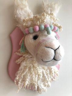 LLAMA - Handmade One-of-a-Kind Needle Felted Faux Taxidermy Animal Head Decor, Animal Heads, Llama Stuffed Animal, Faux Taxidermy, Crochet Taxidermy, Farrow And Ball Paint, Felt Art, Felt Animals, Handmade Toys