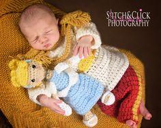 Crochet newborn Prince Charming set with stuffed Cinderella - newborn photography - www.facebook.com/thestitchpoet