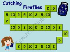 Catching Fireflies - Math Game Skip Counting 2, 5, 10 from esteffek from esteffek on TeachersNotebook.com (7 pages)  - This is a great game to practice skip counting by 2, 5, & 10. Just print off on card stock and laminate! Recording sheet is provided for accountability.