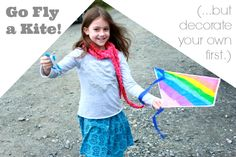 Decorate Your Own Kites -- a fun art activity for kids to be followed by quality active time outside! (plus a giveaway of a set of 12 kites and your choice of fabric markers or glitter glue)