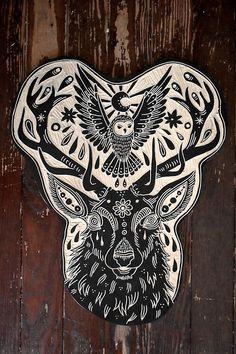 Deer and Owl. 2013 by Bryn Perrott