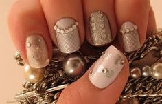 """Mirrored Silver + White """"Crazy Lace"""" Nail Art with Crystal/Rhinestone Accents  @Nancy Nguyen"""