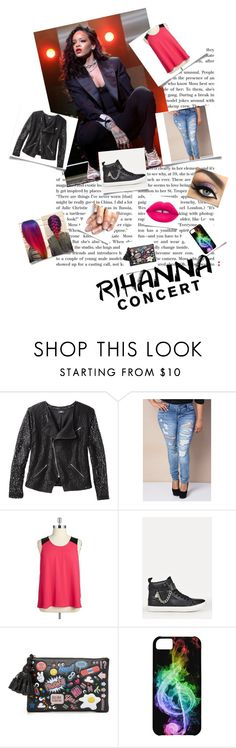 """Rihanna Concert 03"" by crazycolorartist ❤ liked on Polyvore featuring Mossimo, BB Dakota, Anya Hindmarch and plus size clothing"