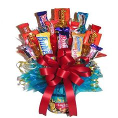 This Peanut Bouquet consist of:a full, 12oz can of Planters Peanuts,11 fun size chocolate bars or compairable sized candies; 3 large chocolate bars or candy packages.