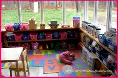 shoestring budget sunroom to playroom transformation Sunroom Playroom, Conservatory Playroom Ideas, Playroom Shelves, Conservatory Decor, Playroom Decor, Rustic Country Homes, Rustic Houses Exterior, Home Daycare, Daycare Ideas