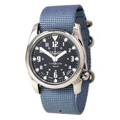Bertucci 13428 Men's A-4T Nautical Black Dial Blue Nylon Strap Watch