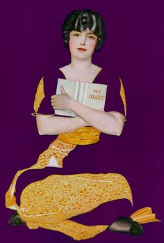 My Diary. Cover illustration for Good Housekeeping, January, 1914. Coles Phillips (1880-1927)