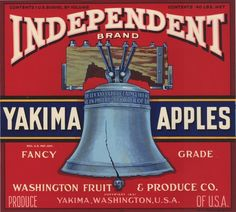 Buy 'Vintage Food Crate Label Independent Washington Liberty Bell Hood River Fruit Vegetable Produce Art Antique Retro Artwork Old Sign' by jnniepce as a T-Shirt, Classic T-Shirt, Tri-blend T-Shirt, Lightweight Hoodie, Fitted Scoop T-Shirt. Vintage Labels, Vintage Ads, Vintage Posters, Vintage Food, Art Posters, Apple Crates, Fruit Crates, Apple Boxes, Vegetable Crates