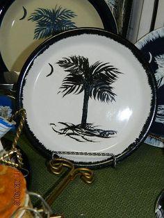 Painted Palmetto Tree Plate