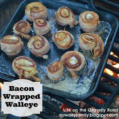 Cut walleye fillets to be narrower than bacon. Put walleye on top of bacon slice and roll. Secure with toothpicks. Cook on skillet over the campfire. Fresh Fish Recipes, Seafood Recipes, Cooking Recipes, Game Recipes, Recipies, Bluegill Recipe, Baked Walleye, Walleye Fish Recipes, Carnival Food