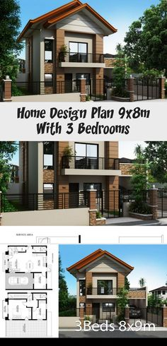Home Design Plan With 3 Bedrooms - Modern Architecture Split Level House Plans, Square House Plans, Metal House Plans, Modern House Plans, House Plans South Africa, Modern Bedroom, Modern Rustic, Modern Architecture, Bungalow