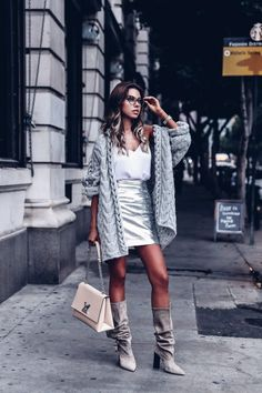 How to wear Metallics for Day - gray chunky knit cardigan, silver metallic leather skirt outfit
