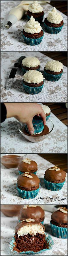 Almond Joy Cupcakes make with dark chocolate :)