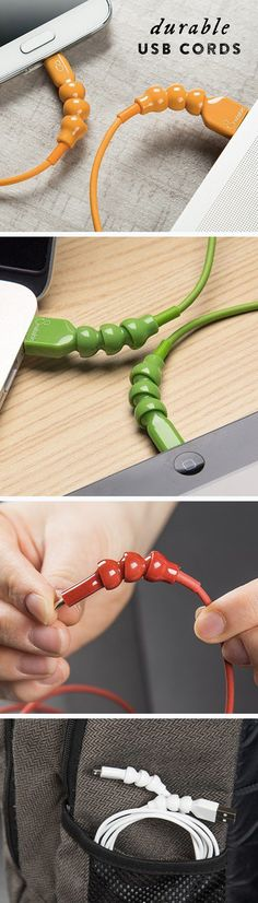 Prevent fraying, breaking cables with a toy-snake-inspired design. Ball joints rotate, flex, and protect the cable within.