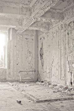 Destruction made by invading German Army during WWll in one of the Russian Palaces outside of St. Petersburg.