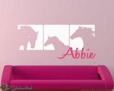 Horse with Your Name Panels Vinyl Wall Art by thestickerhut, $34.99