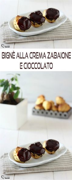 Bignè alla crema zabaione e cioccolato #ricette #cucina #cioccolato #dolci