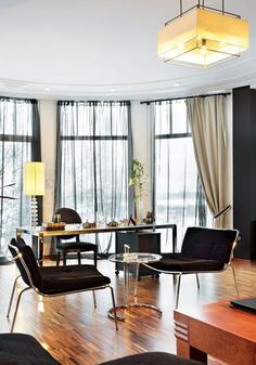 home office interior design - love the big comfy black chairs