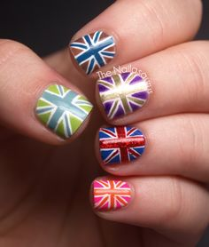 Union Jack Nail Art at The Nailasaurus  Ain't nobody got time for this! ;)  But seriously, so cute. @Laura Burditt Have you seen this tutorial?