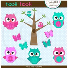 Instant Download Hoot Owls Digital Clip Art Web Design, Card Making, Scrapbooking - Personal and Commerical Use