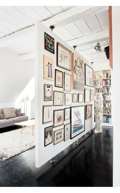 great room divider and gallery wall