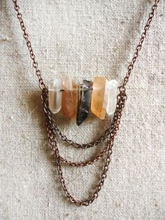 Raw Quartz Necklace with Chains on Etsy, $38.00
