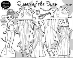 Queen of Dusk black printable paper doll with four dresses and two shoes and a crazy braided hairstyle.