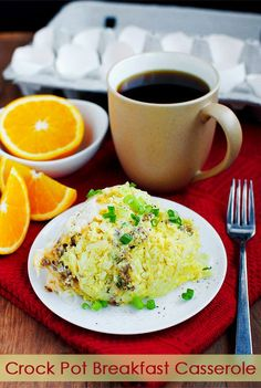 Crock Pot Breakfast Casserole - Cook 4 hours on high or put on at bedtime and cook 8 hours on low