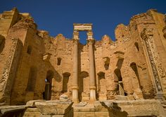 https://flic.kr/p/9vB2SQ | Leptis Magna roman ruins , Libya | Leptis Magna, also called Lpqy, Neapolis, Lebida or Lebda , was a prominent city of the Roman Empire. Its ruins are located in Al Khums, Libya, 130 km east of Tripoli, on the coast where the Wadi Lebda meets the sea. The site is one of the most spectacular and unspoiled Roman ruins in the Mediterranean with so few tourists visiting it...  © Eric Lafforgue www.ericlafforgue.com