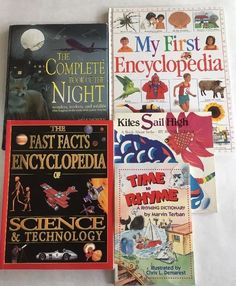 Lot 5 Educational Books Encyclopedia Rhyming Dictionary Verbs Night Home School