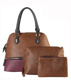 DESIGNER 3 IN 1 TWO TONE ZIPPER ACCENT HANDBAG SET SE-3390  - Zipper top closure  - Textured faux leather  - Rear zipper pocket  - Protective metal foot base  - 16 inch handles  - 14 (W) x 6.5 (D) x 11 (H) inches   Extra messenger bag  - Zipper top closure  - Textured faux leather  - Rear zipper pocket  - Inside lining with open/zipper pockets  - 53 inch adjustable strap  - 11 (W) x 3 (D) x 7.5 (H) inches   Extra pouch  - Zipper top closure  - Textured faux leather  - Inside lining  - 7 inch…