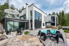 Myytävät asunnot, Merentaantie 7, 20900 Turku  #oikotieasunnot #koti #home #swimmingpool #uimaallas Garden Pool, House 2, Modern House Design, House Colors, Future House, Swimming Pools, House Plans, Pergola, New Homes