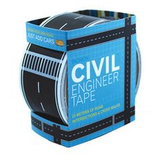 """Lay a street down on your carpet. Turn a box into a village. 25 meters of 2"""" wide road tape. Made in the USA."""